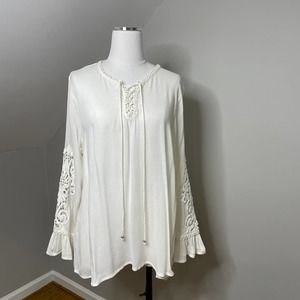 Roaman's Lace Up Crochet Inset Embroidered  Blouse